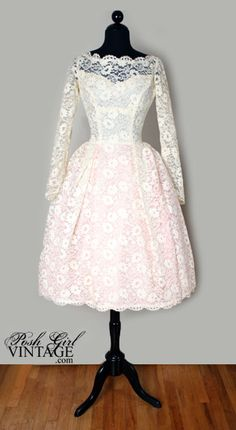 1960's Tea Length Creamy Ivory Lace Wedding Bridal Dress