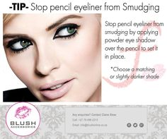 #Monday #MakeUp #Tip: Stop pencil eyeliner from Smudging. Stop Pencil eyeliner from smudging by applying powder eye shadow over the pencil to sit in place. Choose a matching or slightly darker shade. Visit your nearest Blush store for Make Up and so much more. #BlushSA