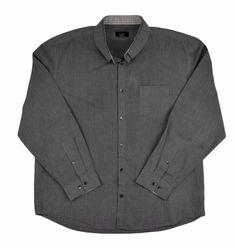 Calvin Klein Men's Dress Shirt Point Collar Button Down Cotton Grey XL 17 29/33 #CalvinKlein