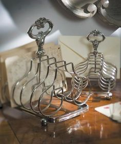 silver toast rack - I love this for holding letters on your desk