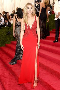 Gigi Hadid Sideslit Celebrity Red Carpet Dress With Lace Embroidery At 2015 Met Gala