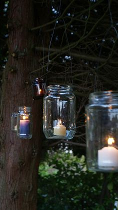 Light up the garden, patio and entertainment areas with glass lanterns made from glass food jars.....