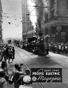 The Pacific Electric During WWII – 37 Historical Photos of the Red Cars' Activity From 1942 to 1945 Cities In Los Angeles, Downtown Los Angeles, Street Run, Main Street, Old Trains, Vintage Trains, Forest Sunset, Los Angeles Hollywood, San Bernardino County