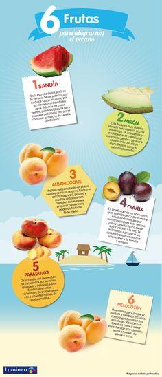 Seis deliciosas frutas para alegrar tus #ensaladas de #verano. #infografia