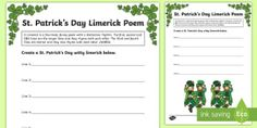 Search for Primary Resources, teaching resources, activities Primary Resources, Teaching Resources, Limerick Poem, Paddys Day, St Patricks Day, 19th Century, Irish, Poems, Activities