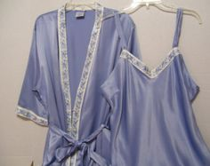 Bridal Honeymoon Peignoir Set Blue Satin Cabernet Long Robe And Negligee Nightgown Embroidered Resort Cruise Wear FREE US SHIP