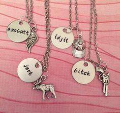 Supernatural Jerk Bitch Assbutt Idjit Nickname Necklaces - Best Friend Necklaces - Supernatural Jewelry - Hand stamped Jewelry by LulusStampings on Etsy https://www.etsy.com/listing/219464828/supernatural-jerk-bitch-assbutt-idjit