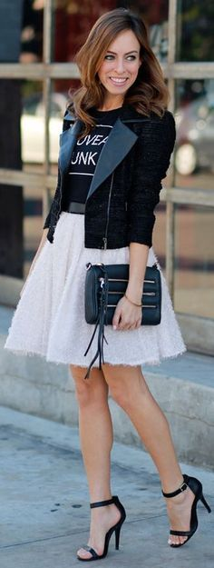stylish black jacket,mini white skirt and black pumps
