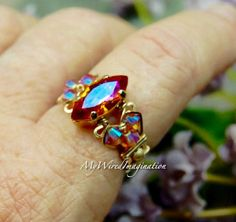 Swarovski Astral Pink Crystal, Hand Crafted Ring, Wire Wrapped, Fine Jewelry, Fiery Pink Orange Crystal, Handmade Ring, Made to Order by MyWiredImagination on Etsy