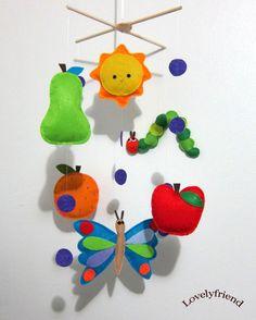 "Baby Crib Mobile - Baby Mobile - Mobile - Crib mobiles - Felt Mobile - Nursery mobile - "" Caterpillar and Butterfly "" design. $78.00, via Etsy."