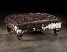 Handcrafted Cowhide Ottoman   Handmade With New Materials Dark Brown And  White Exotic Leather Hide Footstool Stool   Furniture | Ottoman Footstool,  ...
