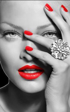 love roses are red - Lamborghini - Lamborghini Color Splash, Color Pop, Go Feminin, Soft Make-up, Red Images, Splash Photography, Beautiful Lips, Love Rose, Black And White Portraits
