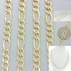 "Men's Women's 14k Solid Yellow Gold 24"" Figaro 5mm Link Chain Necklace 24.7g"