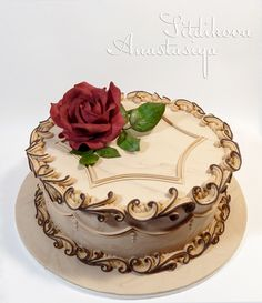 Royal Icing. Beige with scroll by nastasyaS anniversary cakes.