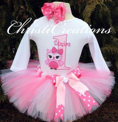 Owl Baby Girl 1st Birthday Shirt and Tutu Set by ChristiCreations, $65.95