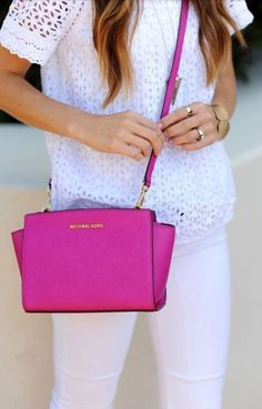 spring. white. brights. cross body. pink. michael kors.
