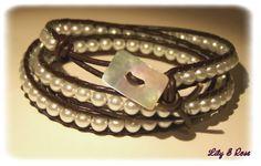 """RESERVE- Bracelet wrap """"duo perles & cuir"""" : Bracelet par lily-et-rose"""