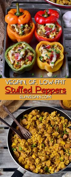 bell pepper recipes These vegan stuffed peppers are filled with healthy ingredients such as curry rice, tomatoes, peppers, vegan cheese, and plant-based protein. The recipe is glute Vegan Bowl Recipes, Healthy Muffin Recipes, Vegetarian Recipes, Protein Recipes, Gluten Free Vegan Recipes Dinner, Delicious Magazine Recipes, Vegan Stuffed Peppers, Stuffed Capsicum Vegetarian, Crock Pot Vegetables