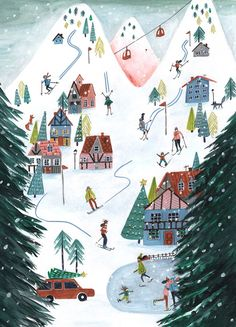 Winter skiing for available this Christmas in your local bookstore if youre living in Europe. Winter Illustration, Christmas Illustration, Illustration Art, Christmas Phone Wallpaper, Winter Wallpaper, Guache, Christmas Drawing, Christmas Mood, Xmas