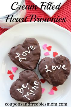 You know the snack cakes you loved seeing tucked into your lunch box as a kid? Here is a great semi-homemade recipe for those perfect for Valentine's Day!  Create these Cream Filled Heart Brownies with your kids this weekend!  Enjoy a luscious chocolate treat reminiscent of your childhood that the whole family can make together and enjoy!