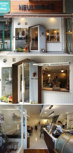 Home Decoration With Paper Flowers Code: 2274974477 Facade Design, Exterior Design, Restaurant Design, Cafe Restaurant, Cafe Door, Cafe Exterior, Cafe Concept, Shop Facade, Small Cafe Design