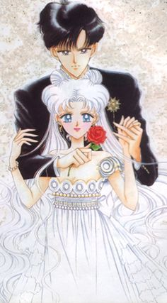 """Chibi-Usa and Helios- fan art altered to look like the """"Sailor Moon SuperS"""" cover of Mamo-chan and Usagi. Arte Sailor Moon, Sailor Chibi Moon, Sailor Moon Cosplay, Sailor Pluto, Neo Queen Serenity, Princess Serenity, Manga Anime, Manga Art, Anime Art"""