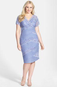 Marina Mixed Lace Sheath Dress (Plus Size)
