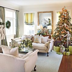 We love the way the Christmas decorations in this formal living room pick up the room's existing decor! http://www.bhg.com/christmas/indoor-decorating/christmas-decorations-for-every-room/?socsrc=bhgpin121014fornallivingroom&page=9