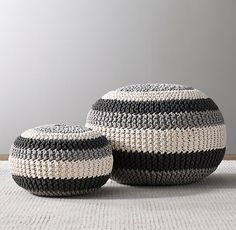 Pouf Ottoman for Playroom Baby room Black And Grey Footstool Handmade Knitted Pouf En Crochet, Knitted Pouf, Knitted Ottoman, Crochet Baby, Floor Pillows And Poufs, Floor Pouf, Cushions, Pouf Ottoman, Pillows