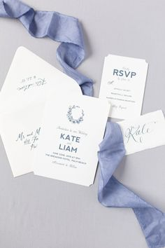 Try this classy minimalist wedding invitation suite on for size. Simple and modern, adorned with a timeless wreath. Love it with this blue hand-died silk! See it at www.beccamercer.com (Photo: Sami Kathryn Photography, Calligraphy: Fig & Flourish) #weddinginvitation #bluewedding #classy #simplewedding #weddinginvitationsuites #stationery #silkribbon #wreath #calligraphy