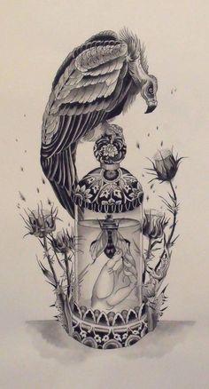 #tattoo #vulture #bee #thistle