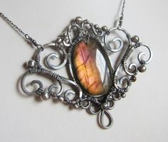 Hesperia's Daughter VII - Ornate Amber and Purple Labradorite Pendant in Sterling Silver