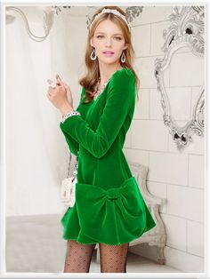 Morpheus Boutique  - Green Velour Bow Long Sleeve Pleated Dress, $119.99 (http://www.morpheusboutique.com/green-velour-bow-long-sleeve-pleated-dress/)