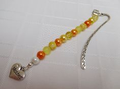 Orange & Yellow Beaded 'Mother' Bookmark with Charms, Tibetan Silver Bookmark, Mothers Day Gift by WendyMCreations on Etsy