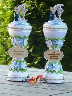 Ideas Para Fiestas, First Communion, Topiary, Xmas Decorations, Baby Hats, Favors, Centerpieces, Projects To Try, Anniversary