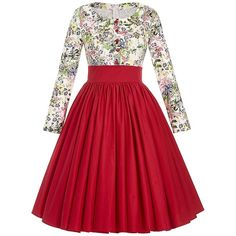 Belle Poque Women's Long Sleeve Floral Vintage Cocktail Dresses ($26) ❤ liked on Polyvore featuring dresses, long sleeve cocktail dresses, holiday cocktail dresses, long sleeve floral dress, floral cocktail dresses and long sleeve evening dresses