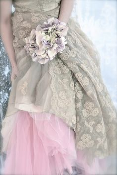 vintage dress with pink tulle skirt underneath to create a fairytale look. Pretty In Pink, Bridal Gowns, Wedding Gowns, Lace Weddings, Bridal Lace, Wedding Bouquet, For Elise, Fru Fru, Fairytale Dress