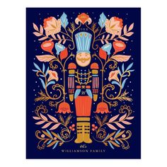 Inspired by the beauty and style of Scandinavian folk art but with a modern and vintage flare. Deep contrasts are combined with joyful bright colours of red, yellow, pink, blue, gold and peach to convey a joyous feeling. Our hand-drawn nutcracker and beautiful florals are artfully arranged together to create this beautiful festive holiday postcard. All of the artwork and illustrations are meticulously hand-drawn by Moodthology, to create our unique memorable Holiday Christmas design. Illustration Noel, Winter Illustration, Christmas Illustration Design, Scandinavian Folk Art, Scandinavian Christmas, Christmas Design, Vintage Christmas, Christmas Print, Christmas Artwork