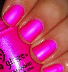 China glaze neon nails hot pink nails, fancy nails, pink toes, pretty n Nail Polish Designs, Nail Polish Colors, Polish Nails, Nails Design, Matte Nails, Pink Nails, Pink Toes, French Nails, Design Ongles Courts