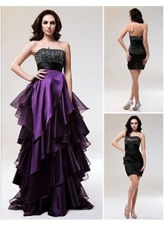 Fabulous A-line Strapless Floor-length Organza Two-in-One Prom Dress