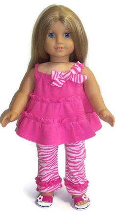 "Pretty in Pink Ruffled Legging Set made for 18"" American Girl Doll Clothes #DollClothes"