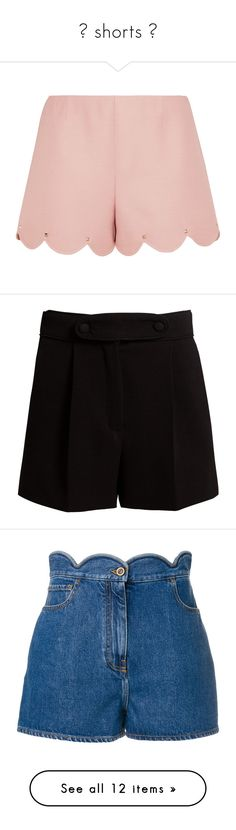 """""""═ shorts ღ"""" by alexisainsworth ❤ liked on Polyvore featuring shorts, pants, wool shorts, valentino shorts, studded shorts, skirts, black, pleated shorts, high-rise shorts and high waisted pleated shorts"""