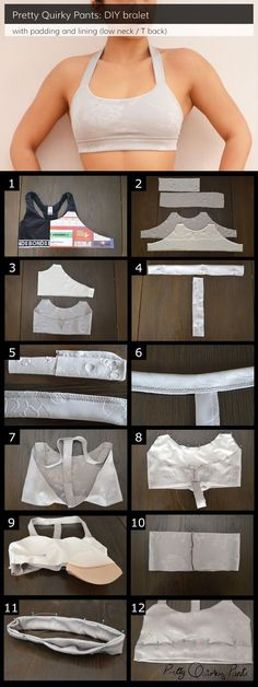 DIY T-Back Bralet Tutorial Make a lined and padded sports bra. DIY T-Back Bralet Tutorial Make a lined and padded sports bra. Sewing Bras, Sewing Lingerie, Sewing Clothes, Bra Lingerie, Women's Clothes, Diy Clothing, Clothing Patterns, Sewing Patterns, Sport Clothing