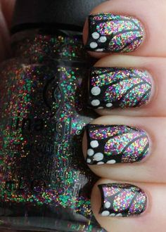 Summer Nail Styles #butterfly #sparkle #black