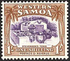 Robert Louis Stevenson on stamp of Samoa 1935 Science Fiction, Robert Louis Stevenson, Mystery, Sea Monsters, British Colonial, Treasure Island, Illustrations, Stamp Collecting, Romance