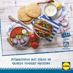 Heerlijk Grieks recept voor Pitabroodjes met Gyros en Griekse yoghurt dressing #Lidl #Griekenland