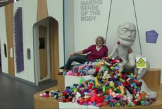 #microbes mountain with Glasgow Science Centre's Homunculus & Prof Tracey Howe from Glasgow City of Science/Glasgow Caledonian University - massive thanks to all the knitters across the world!  http://www.glasgowcityofscience.com/get-involved/knitting-microbes