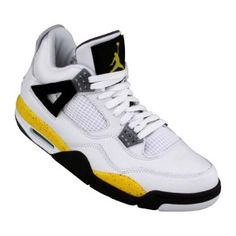 best website 29152 50ce8 Nike Air Jordan Retro 4 Ls Blancos Turísticos Amarillo Azul Oscuro Zapatos  De Los Hombre Negros