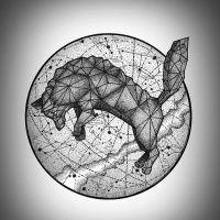 Geometric jumping wolf on drawing planet model tattoo design