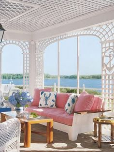 Diamond Baratta Design trellis work- love the pink cushions with the Clarence House La Mer pillows, too!